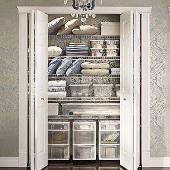Storage Maximize The Closet And Wardrobe Linen Closet Organization Linen Closet Closet Storage