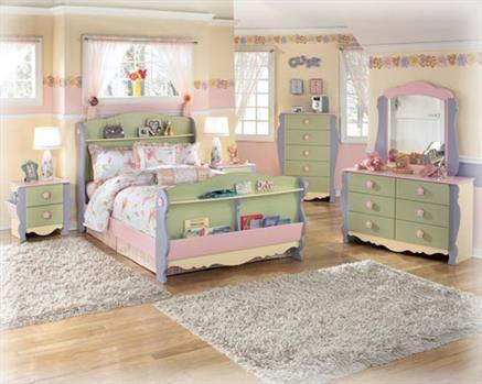 Doll House 4Pc Kids Bedroom Set w/Twin Bed Children\u0027s Bedroom