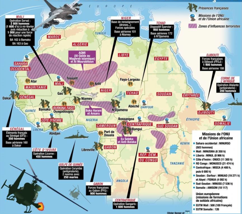 French Military Activity In Africa Africa Geopolitics - Map of us military bases in africa