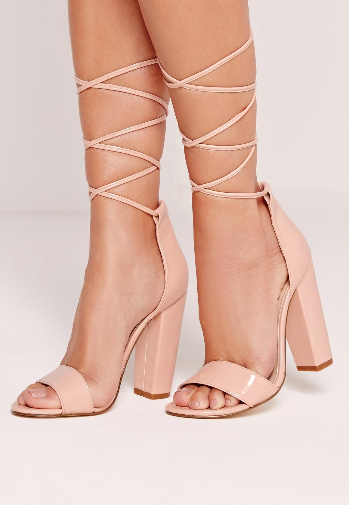 bbf311fe5e6 Missguided - Barely There Wrap Around Block Heels Nude