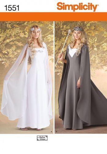 Simplicity Sewing Pattern 1551 Misses LOTR Hobbit Elf Galadriel Costumes 8 14   eBay