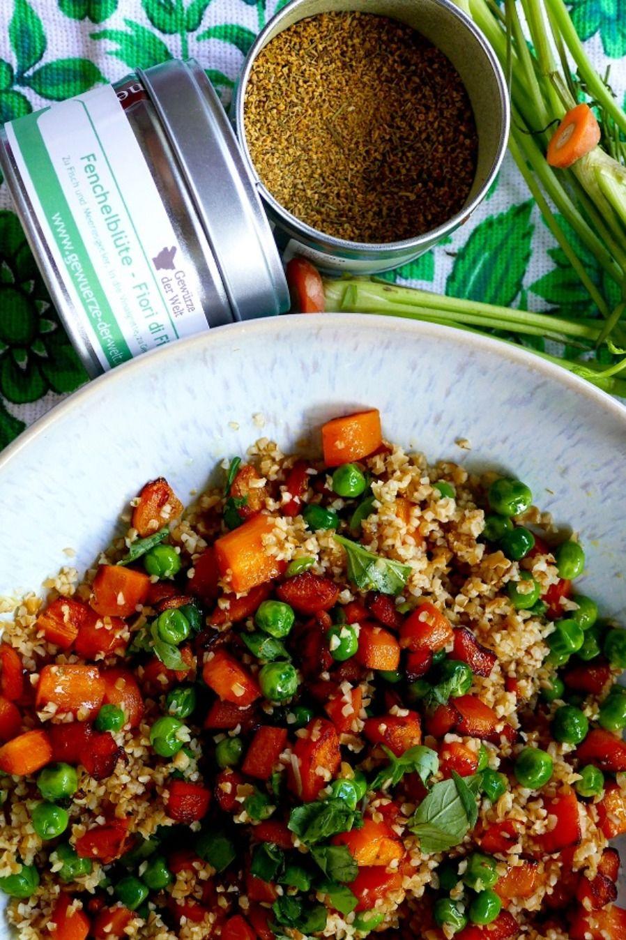 Einfacher Gemüsesalat mit Bulgur, Erbsen und Karotten