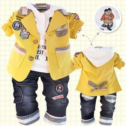 c3610275108a NEW 2018 spring children clothing set baby boys 0-3 years old double-button  three-pieces baby set