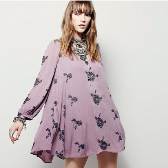 ReducedFree People embroidered Austin dress New with tags, Free People embroidered Austin dress in gorgeous elderberry color combo. Free People Dresses Mini