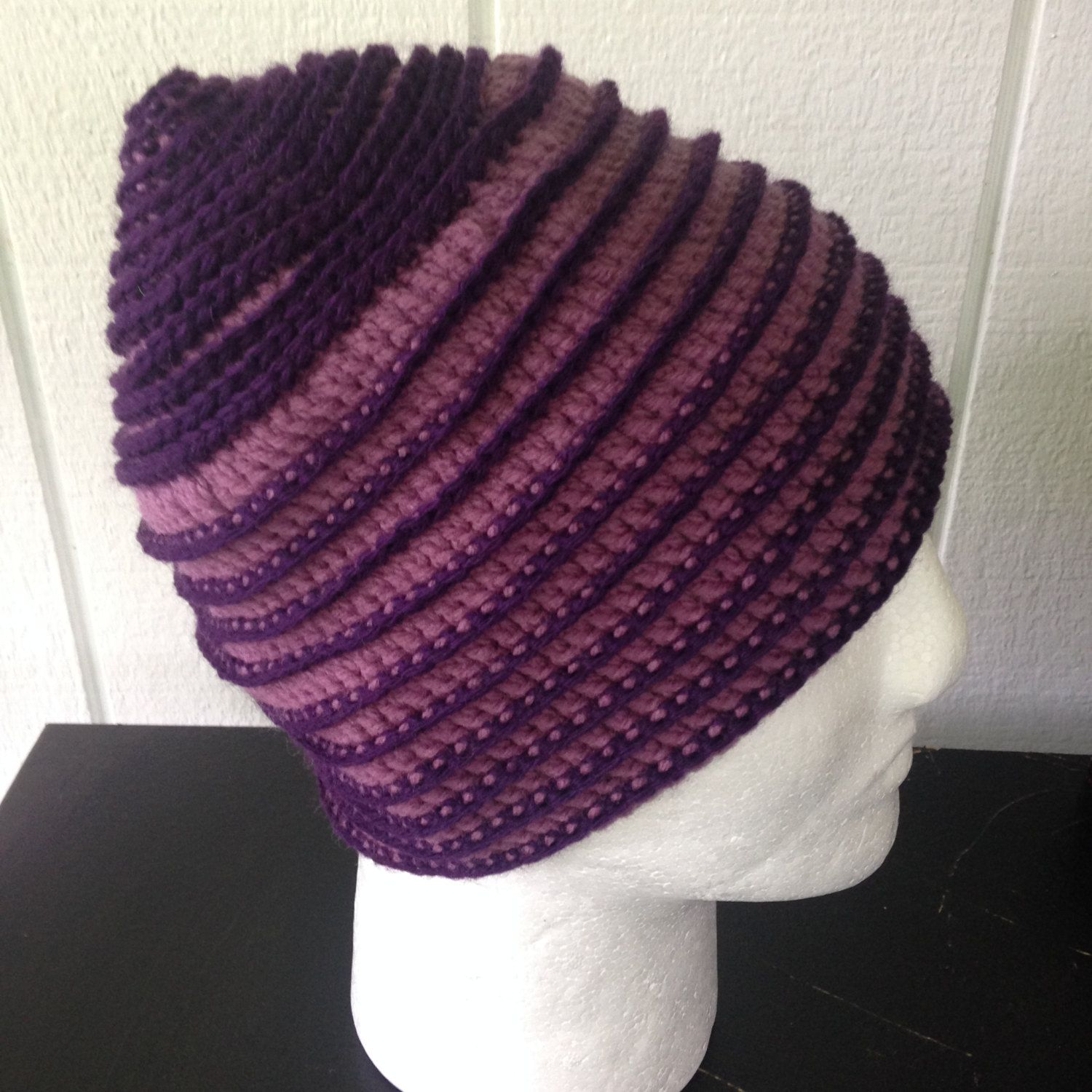 Purple crochet beanie hat with ridges spiral pattern with raised purple crochet beanie hat with ridges spiral pattern with raised design hat acrylic and bankloansurffo Choice Image
