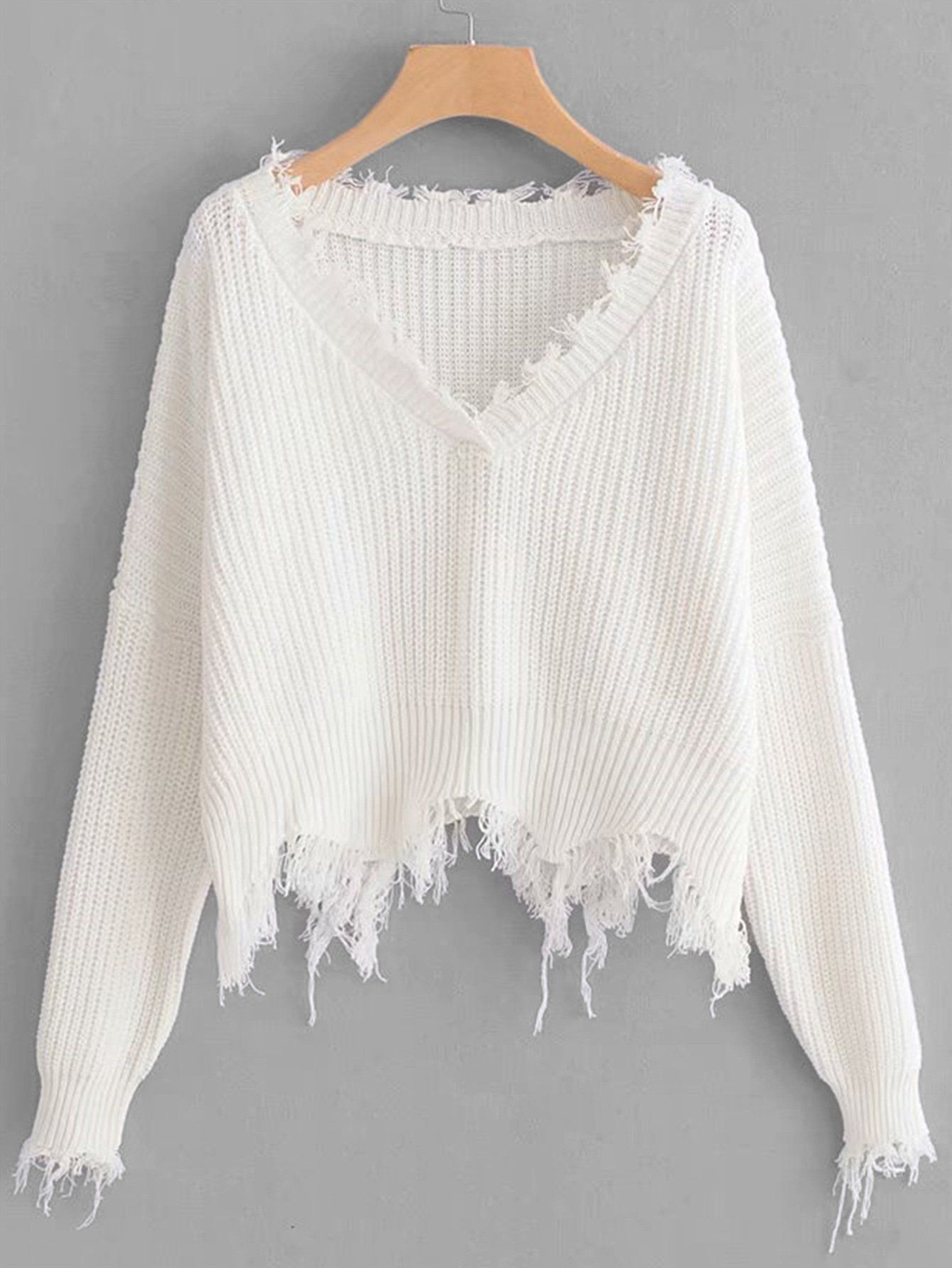 d96495769d Frayed Trim Drop Shoulder Sweater in 2019
