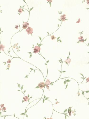Wallpaper Pastel Mini Floral Vine With Birds Butterflies On Cream Faux Silk Floral Vine Birds Butterflies Wallpaper