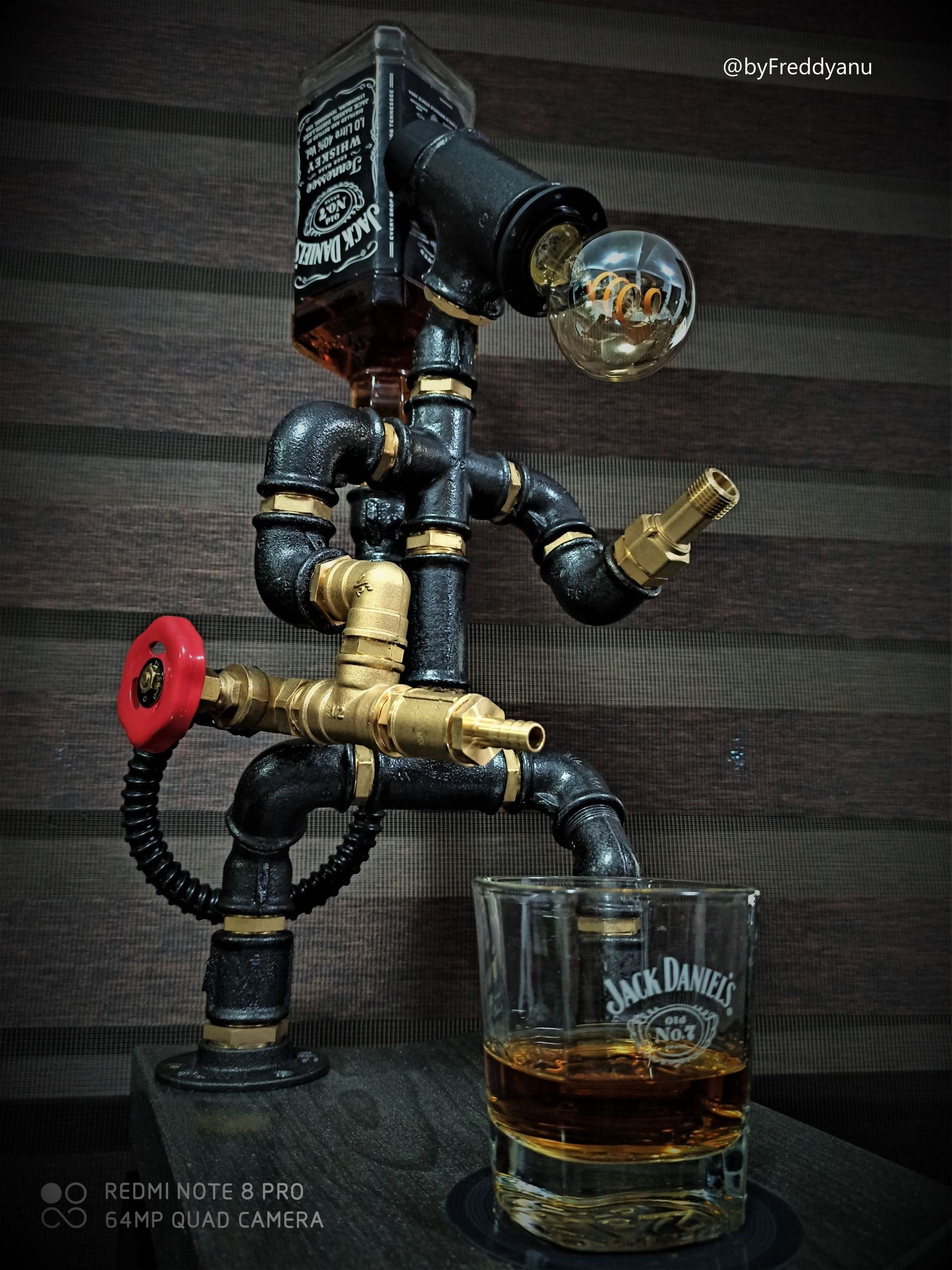 Photo of 2GunMan – Unique Robot Pipe Alcohol Dispenser & Industrial Lamp, Jack Daniels, Liquor, Whiskey, Handmade, Gift for Him, Birthday gift.