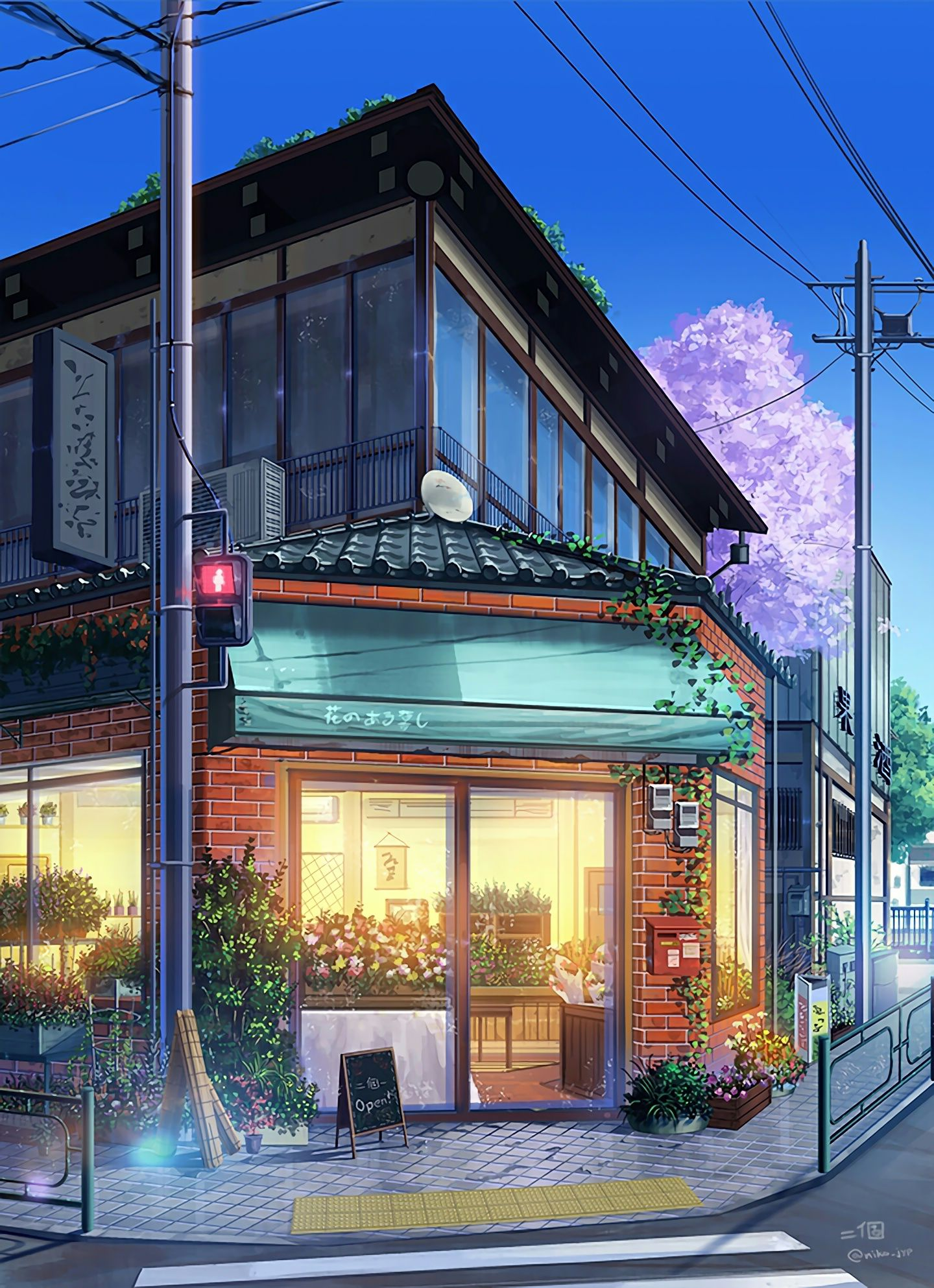 Corner florist shop japan art anime scenery anime