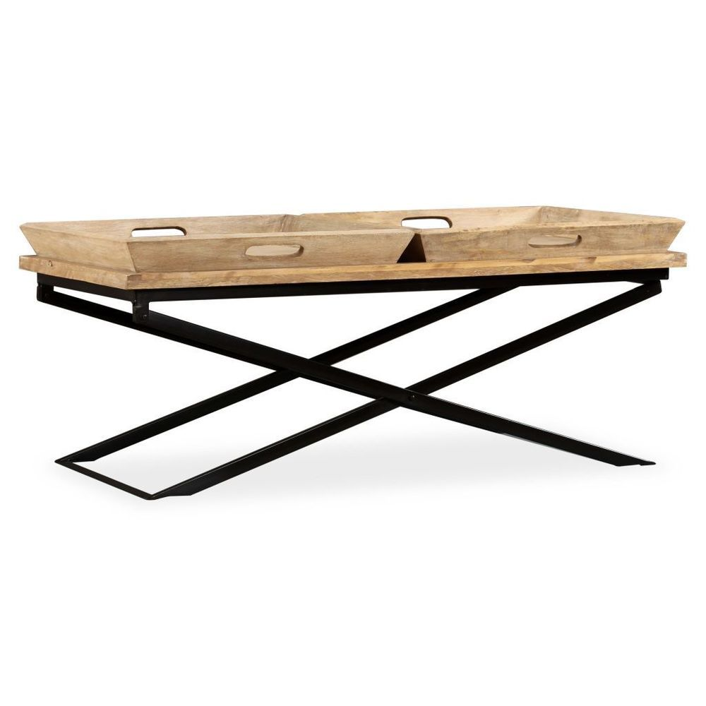 Couchtisch Vidaxl Wooden Coffee Table Mango Wood Removable Trays Steel Legs