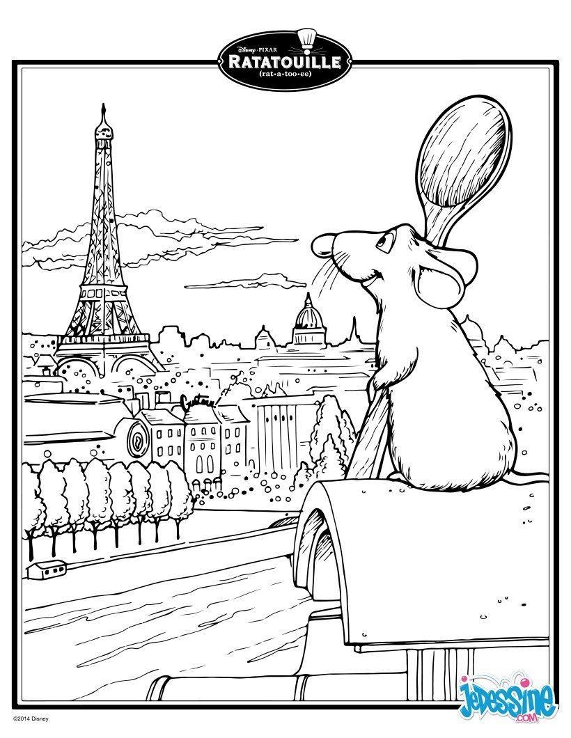 Coloriage DISNEY - Ratatouille - Rémy  Coloriage tour eiffel