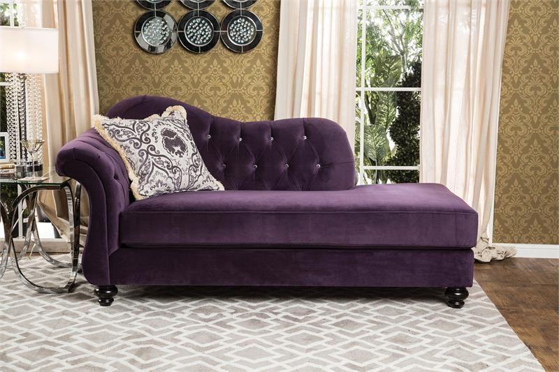 Chaise Antionette Purple Sofa Set Sm2222 Furniture Of America