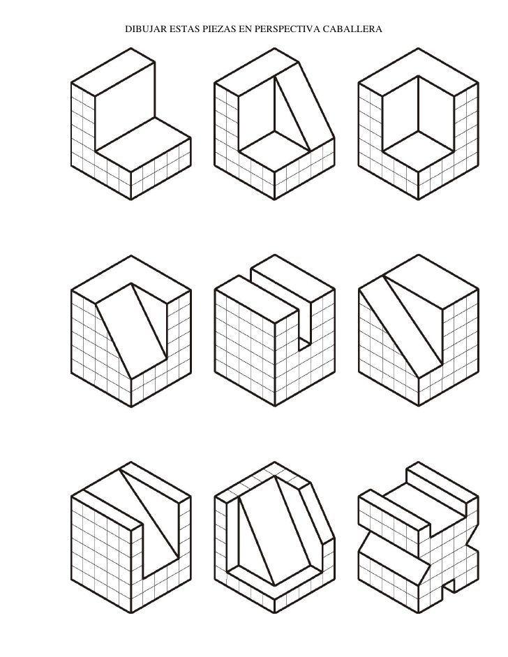 Resultado De Imagen De Perspectiva Caballera Tecnicas De Dibujo Ejercicios De Dibujo Vistas Dibujo Tecnico
