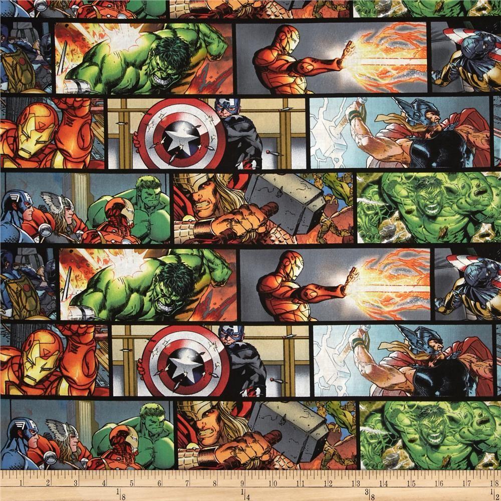 Marvel Comics Character Toss X-Men Ironman Thor Black Cotton Fabric Fat Quarter