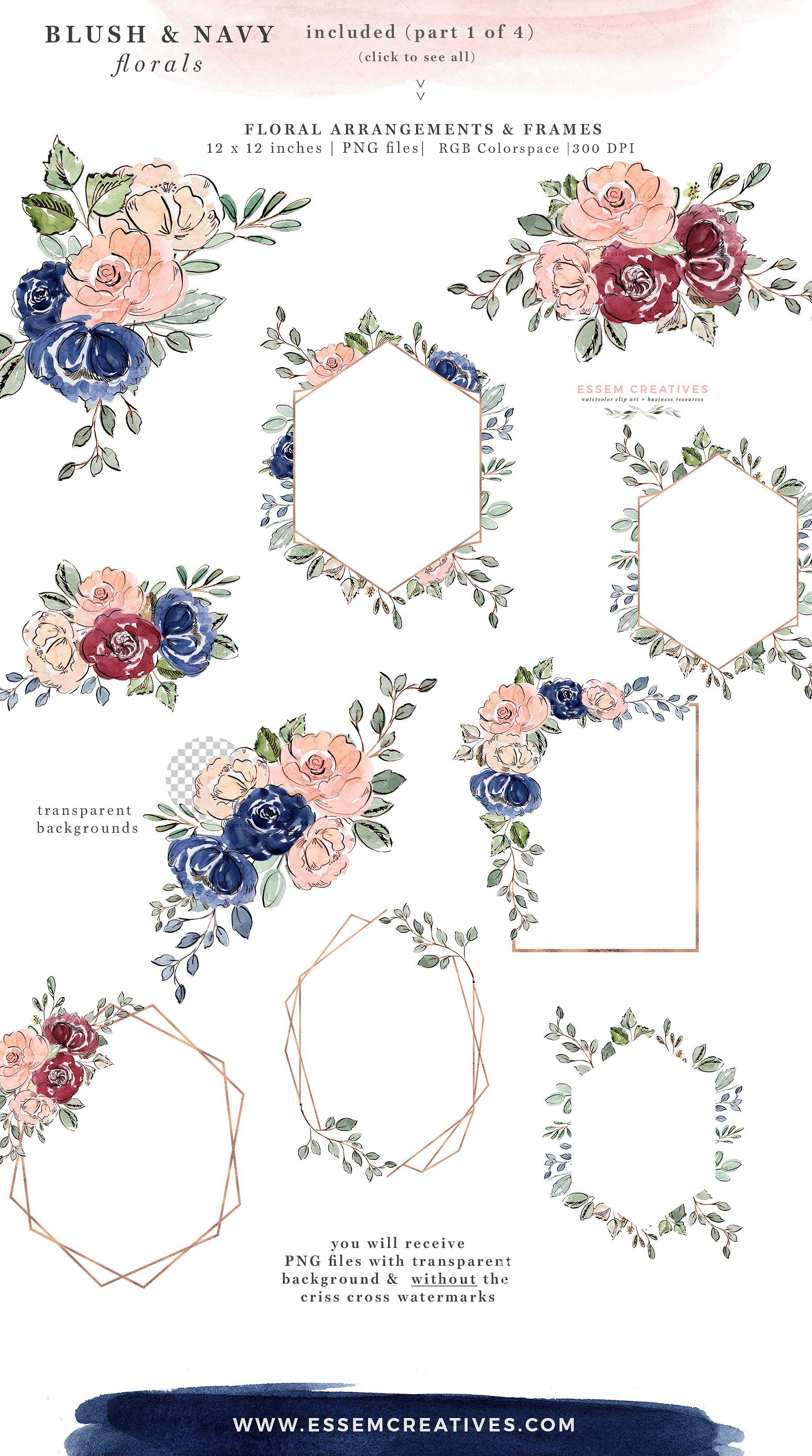 Blush And Navy Watercolor Flowers Watercolor Flowers Floral Invitation Floral Border