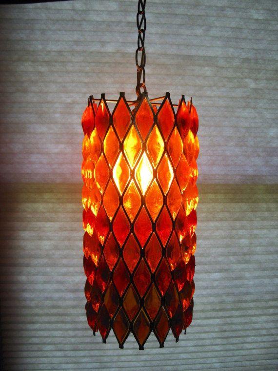 Mid Century Lucite Swag Lamp Orange Swag Lamp Vintage Lamp Swag Lamp Hanging Lamp Swag Light