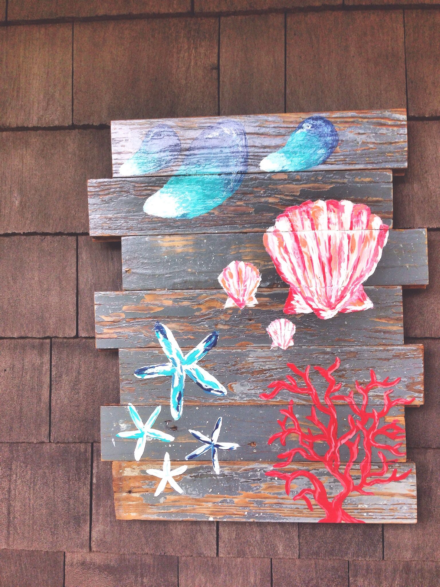 Shells on reclaimed wood! Check out our shop on Etsy: https://www.etsy.com/shop/SouthernSeaboard