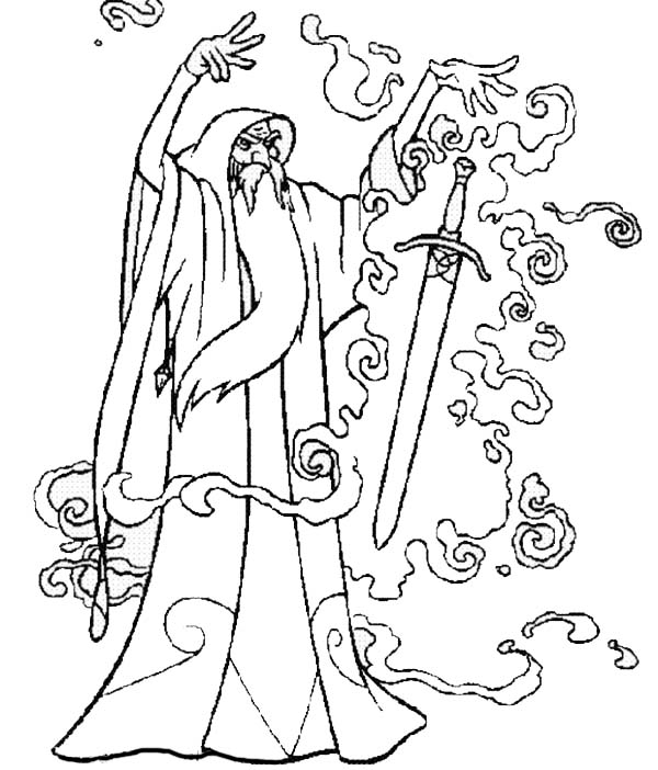 Merlin The Wizard Put A Magic Spell Into A Sword Coloring Pages Bulk Color Coloring Pages Merlin The Wizard Wizard Drawings