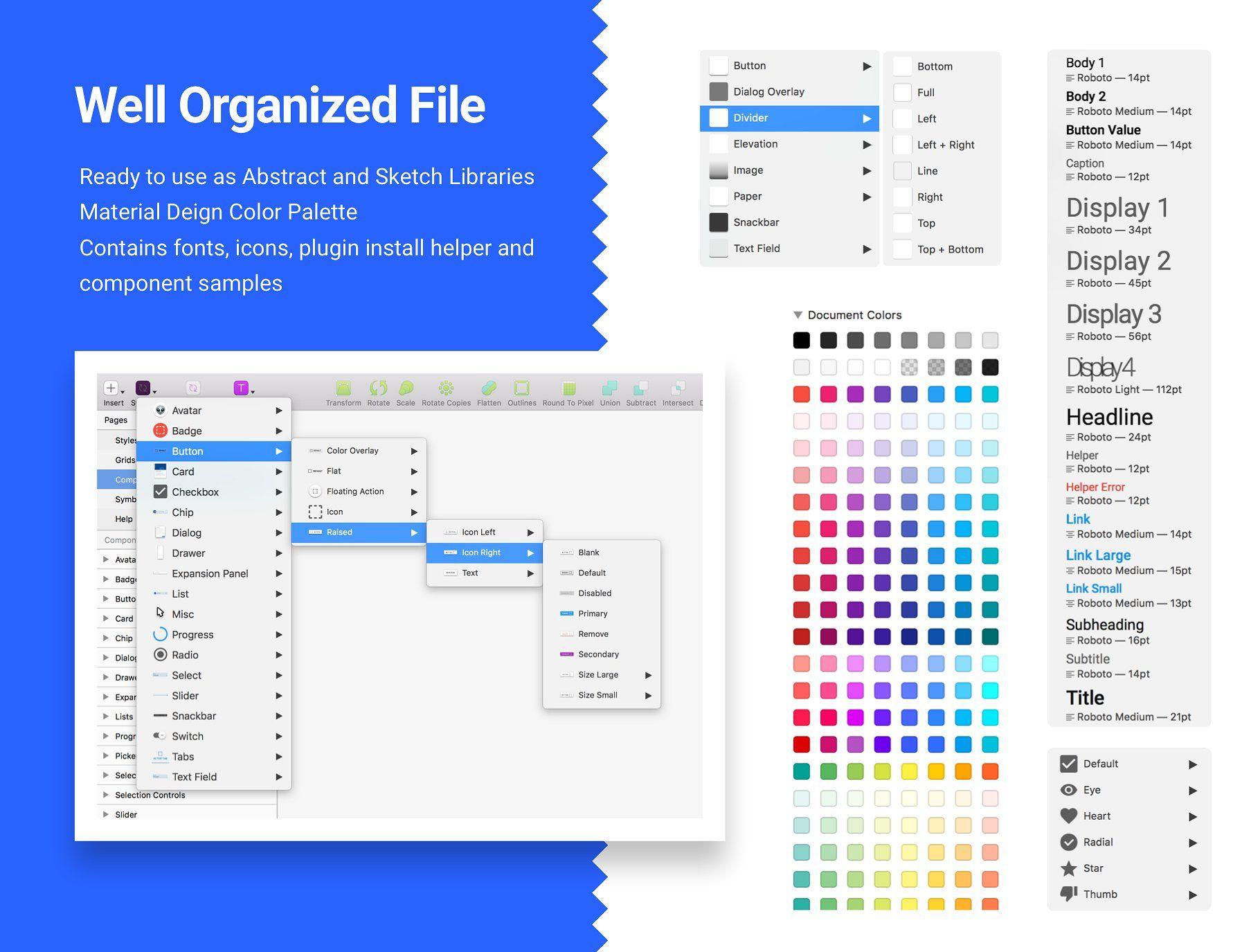 Material Design Kit For Web Apps Web App Material Design Website Template