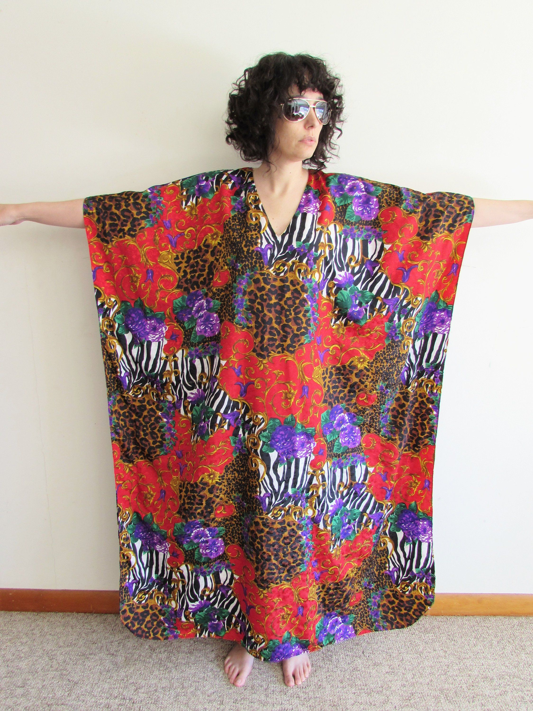c3398346914d94 Vintage Winlar Kaftan 1980s 1990s Animal Print Floral Gucci Style House  Dress Muumuu One Size