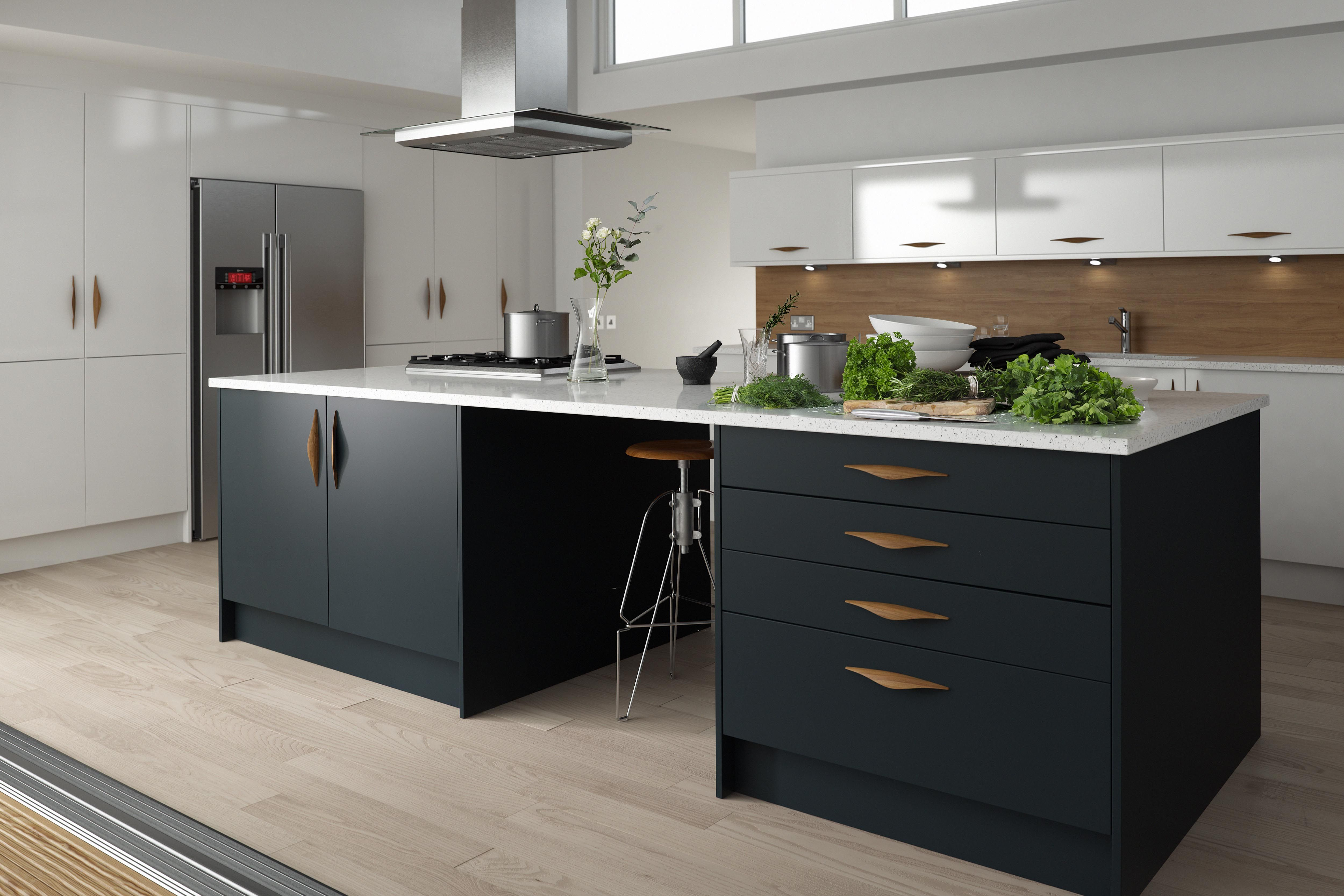 Matte Kitchen Cabinets Grey Matte Kitchen With Copper Handles Google Search