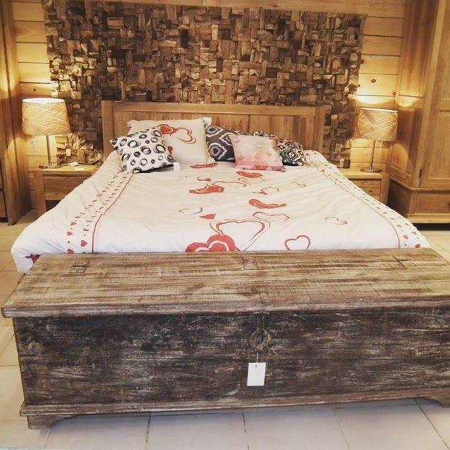 coffre indien vieux bois, pied de lit - http://meuble-passion