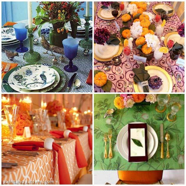 Stencil Colorful Table Cloths for Thanksgiving | Paint + Pattern