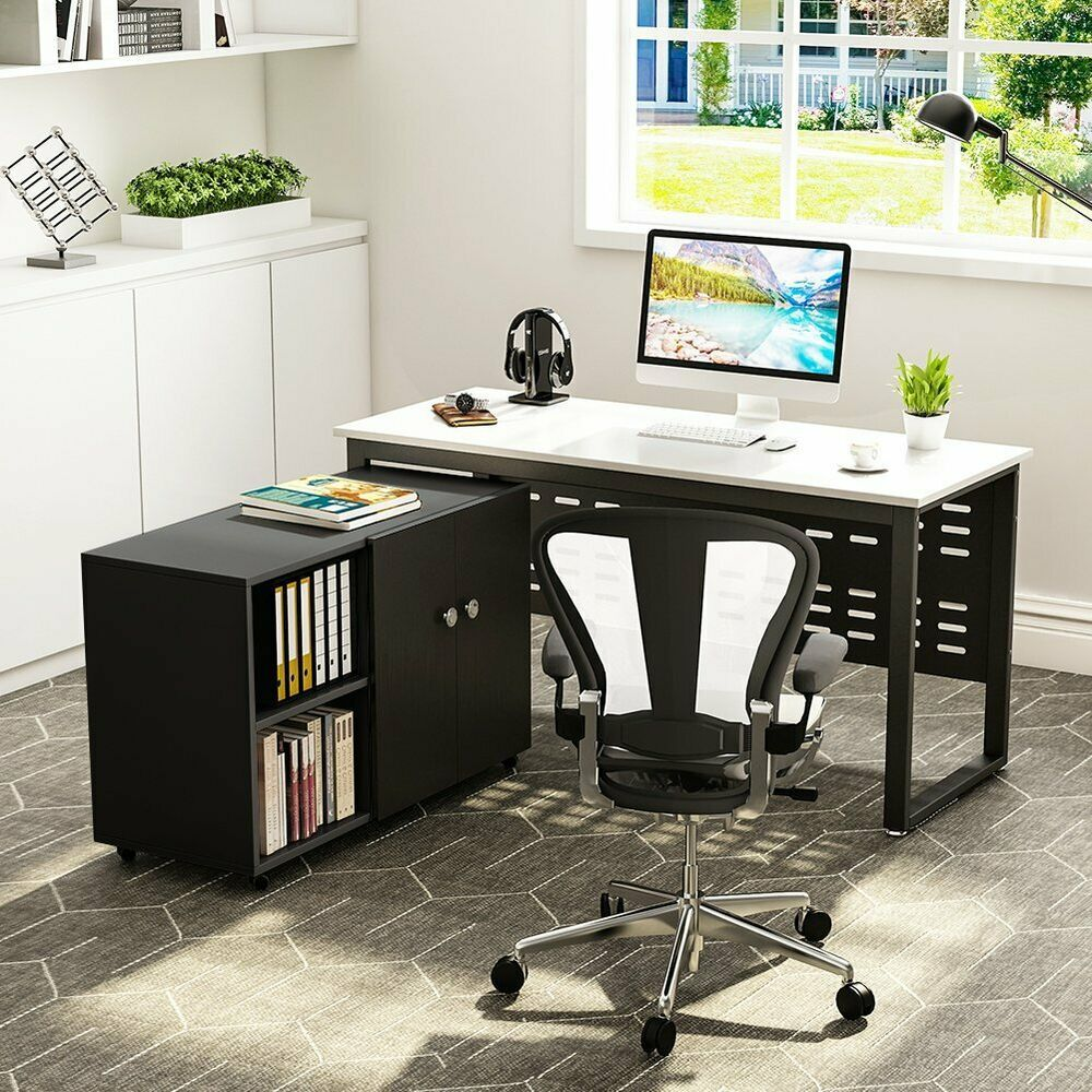 55 Large Modern Desk Study Writing Table With File Storage