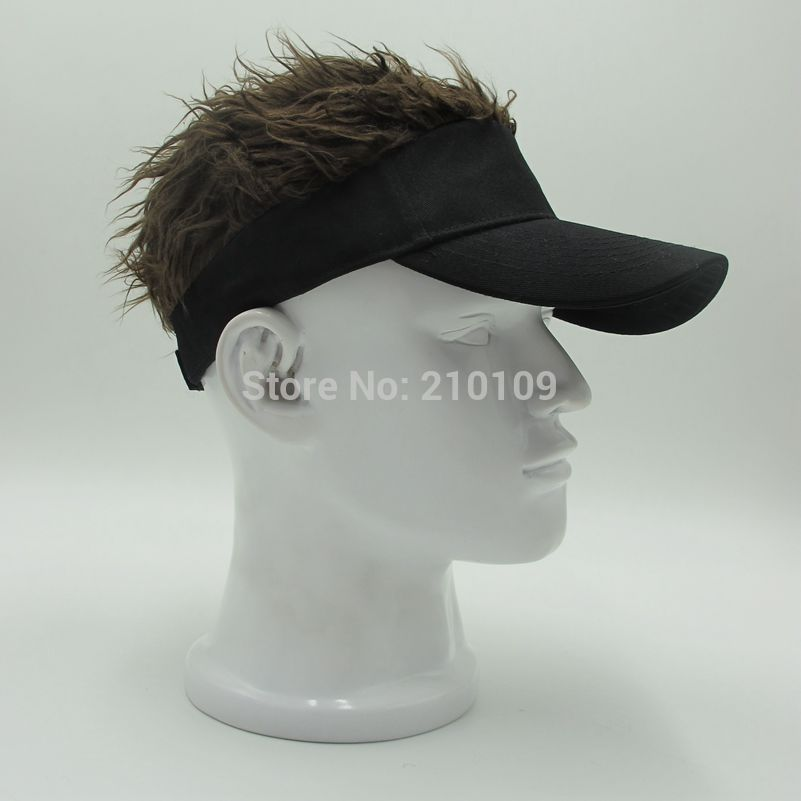 0671f269794 FUNNY BASEBALL CAPS FAKE FLAIR HAIR SUN VISOR HATS Price US$13.98 ...