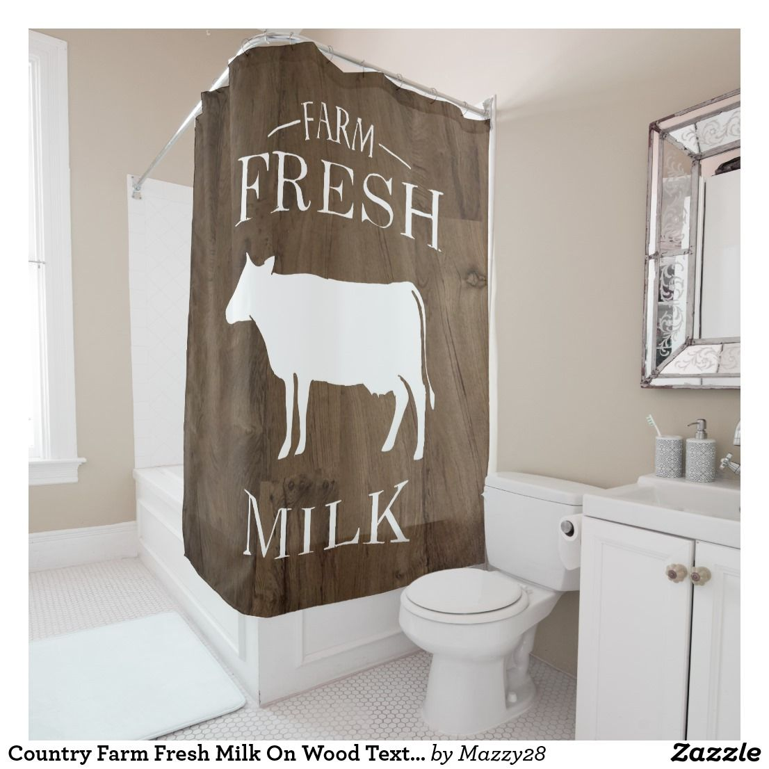 Country Farm Fresh Milk On Wood Textures Country Shower Curtain