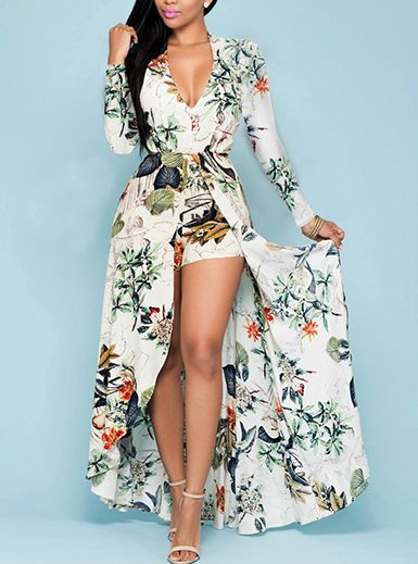 ba111f353521 Women s Romper Dress - Maxi Length   Floral Printed   High Cut ...
