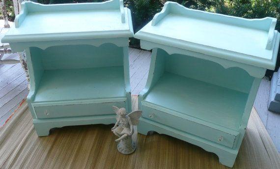Malibu Cottage Bedside Tables Vintage PAINT to by poppycottage, $175.00