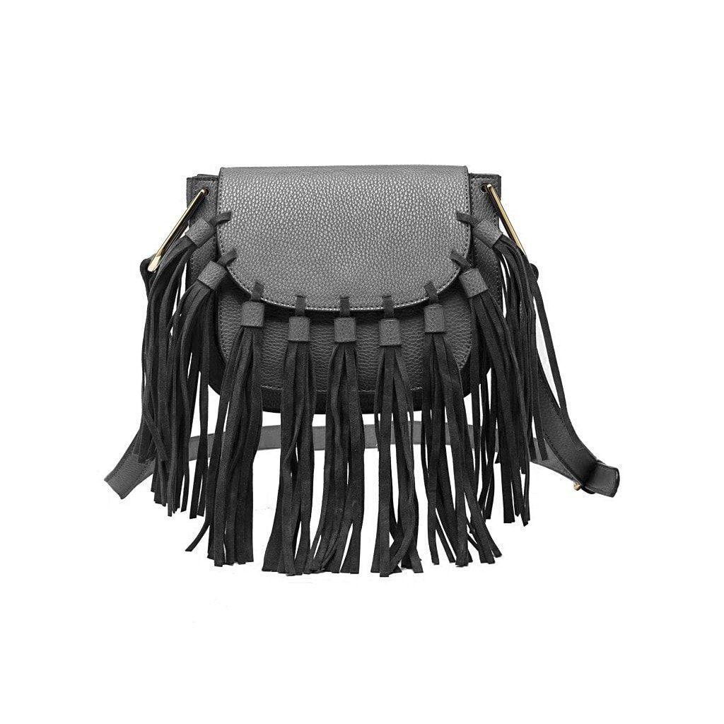 Blair Gray Fringe crossbody bag, Grey crossbody bag