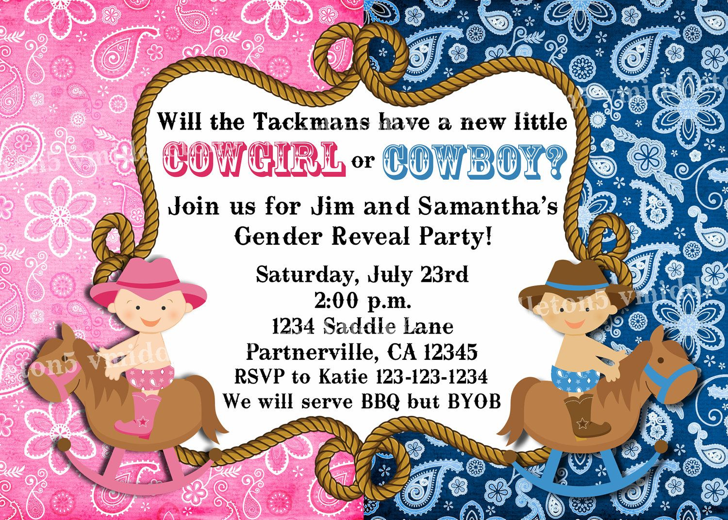 Cowgirl or cowboy western theme baby gender reveal party invitation cowgirl or cowboy western theme baby gender reveal party invitation print your own 5x7 or 4x6 filmwisefo Images