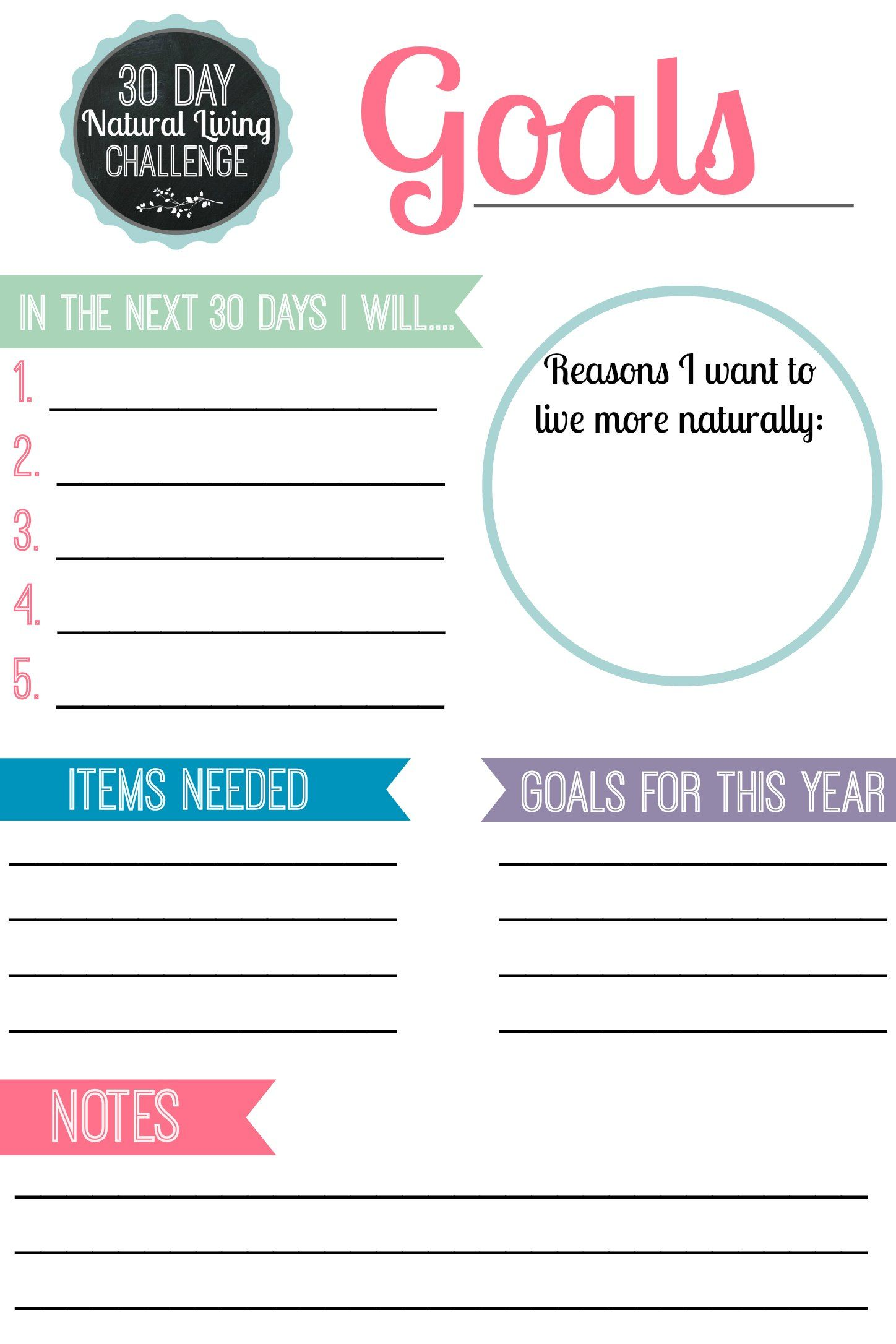 30 Day Natural Living Challenge Setting Goals