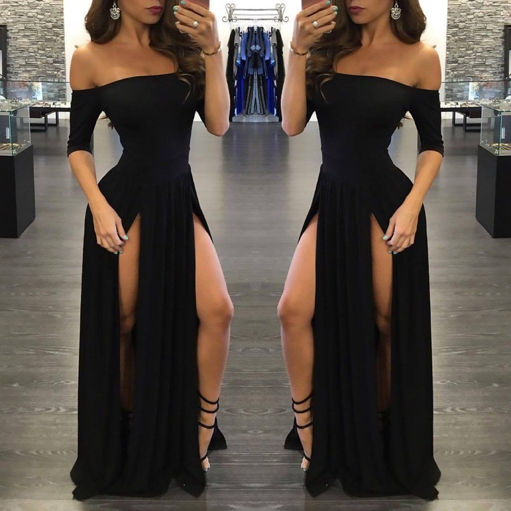 Sexy black long offtheshoulder aline half sleeve scoop sexy slit