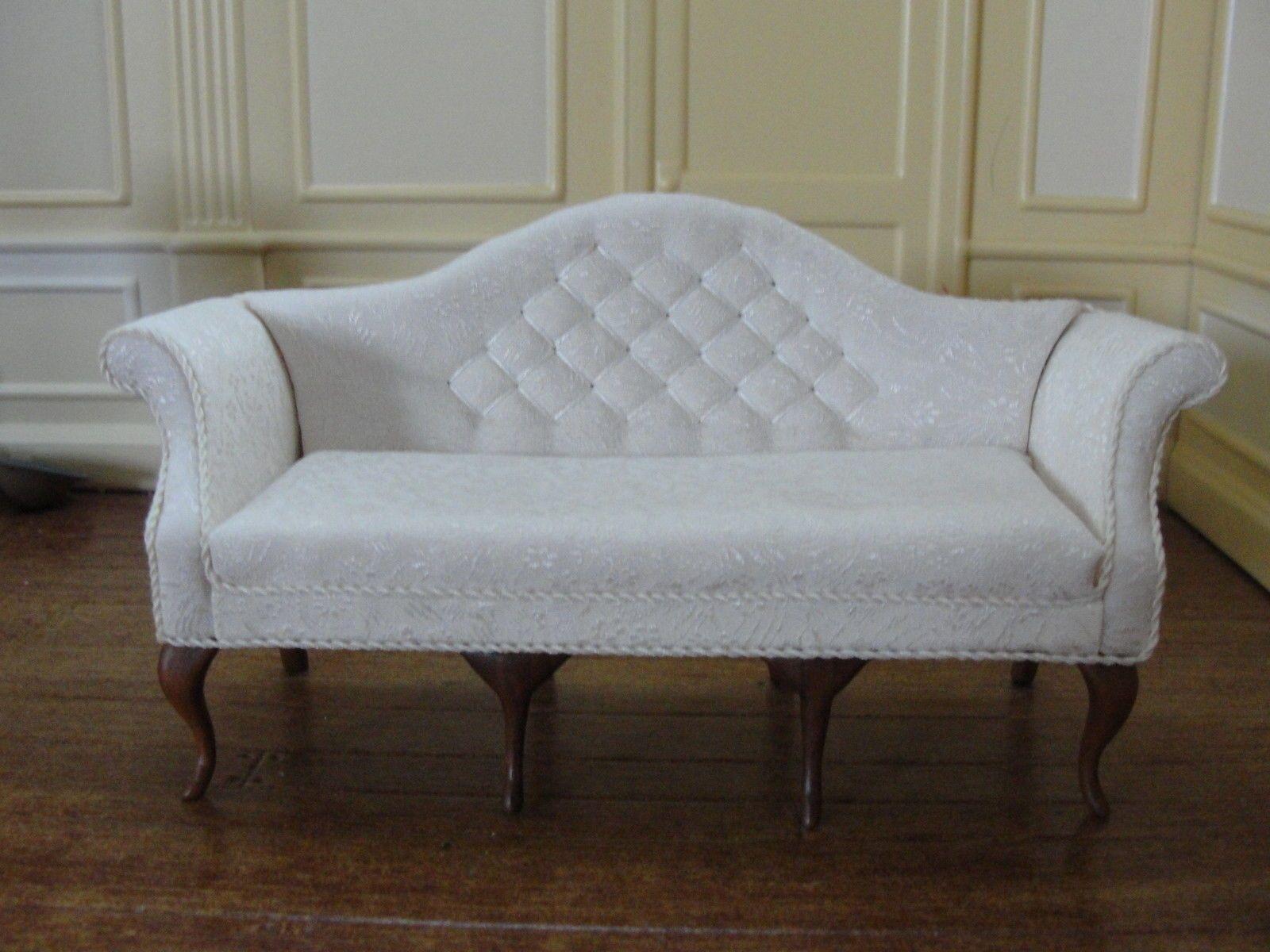 Donna Jim Johnson Ivory Brocade Sofa Artist Signed 1987