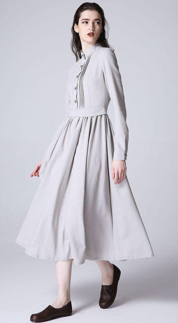 linen shirt dress, plus size dress, long grey dress, long sleeve