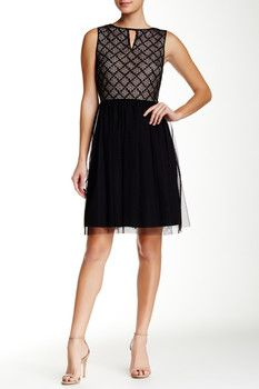 Maggy London Sleeveless Kyhle Lace Bodice Fit & Flare Dress