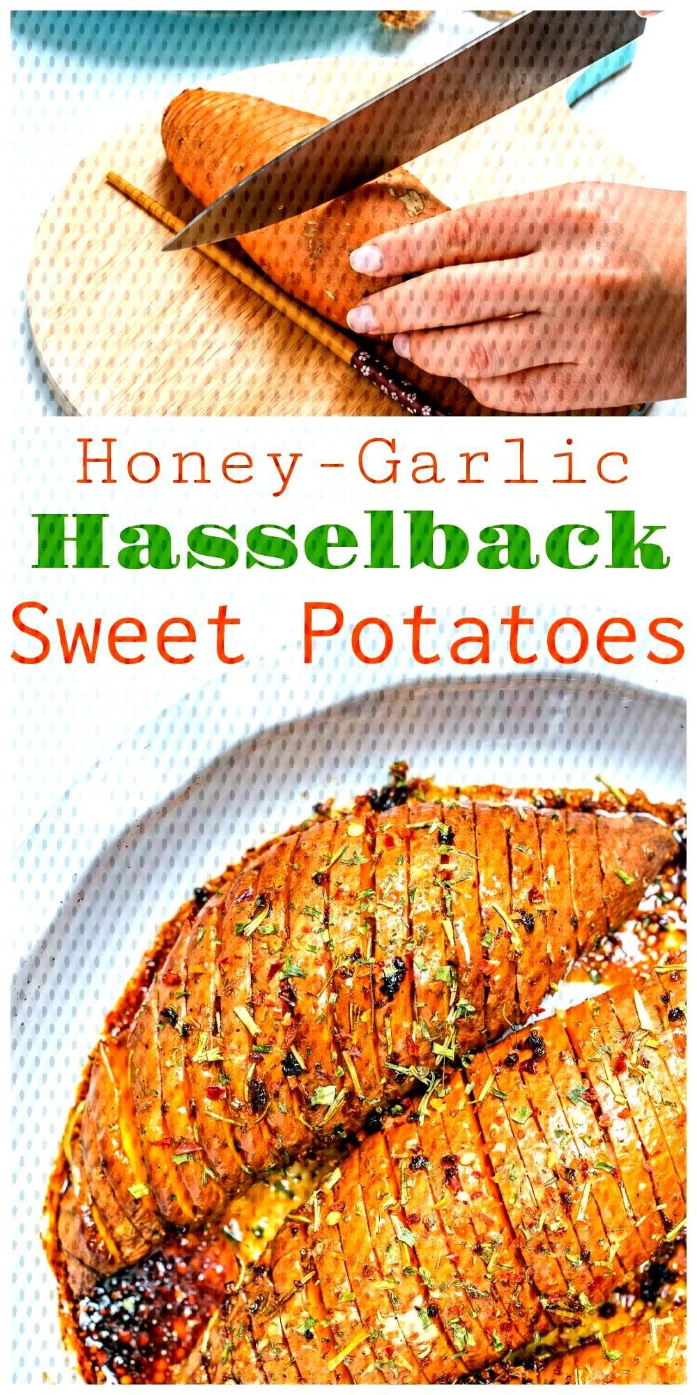Honey + Garlic Hasselback Sweet Potatoes for Creative Clean Eats! - Cle...