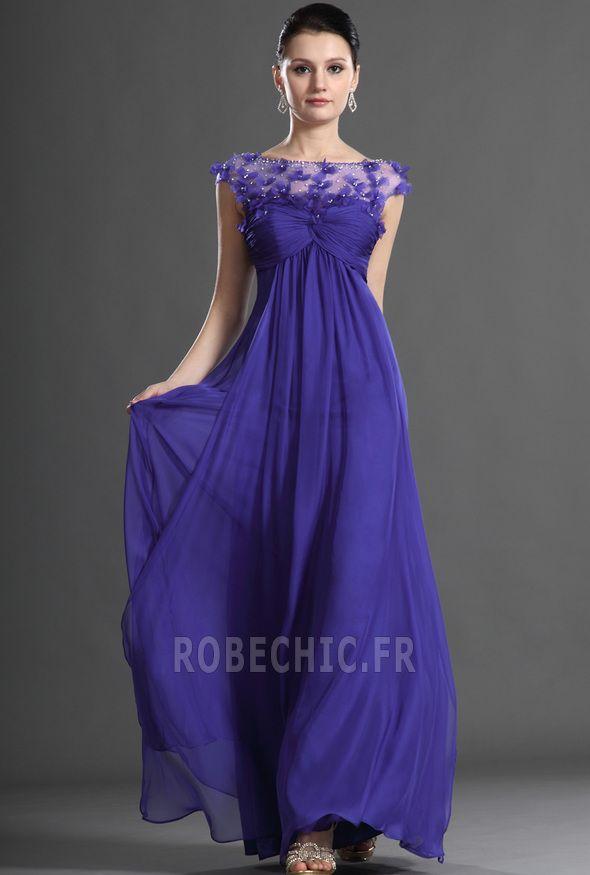 Robe de Soirée Longue Fleurs Empire Orné de Rosette noble Automne ...