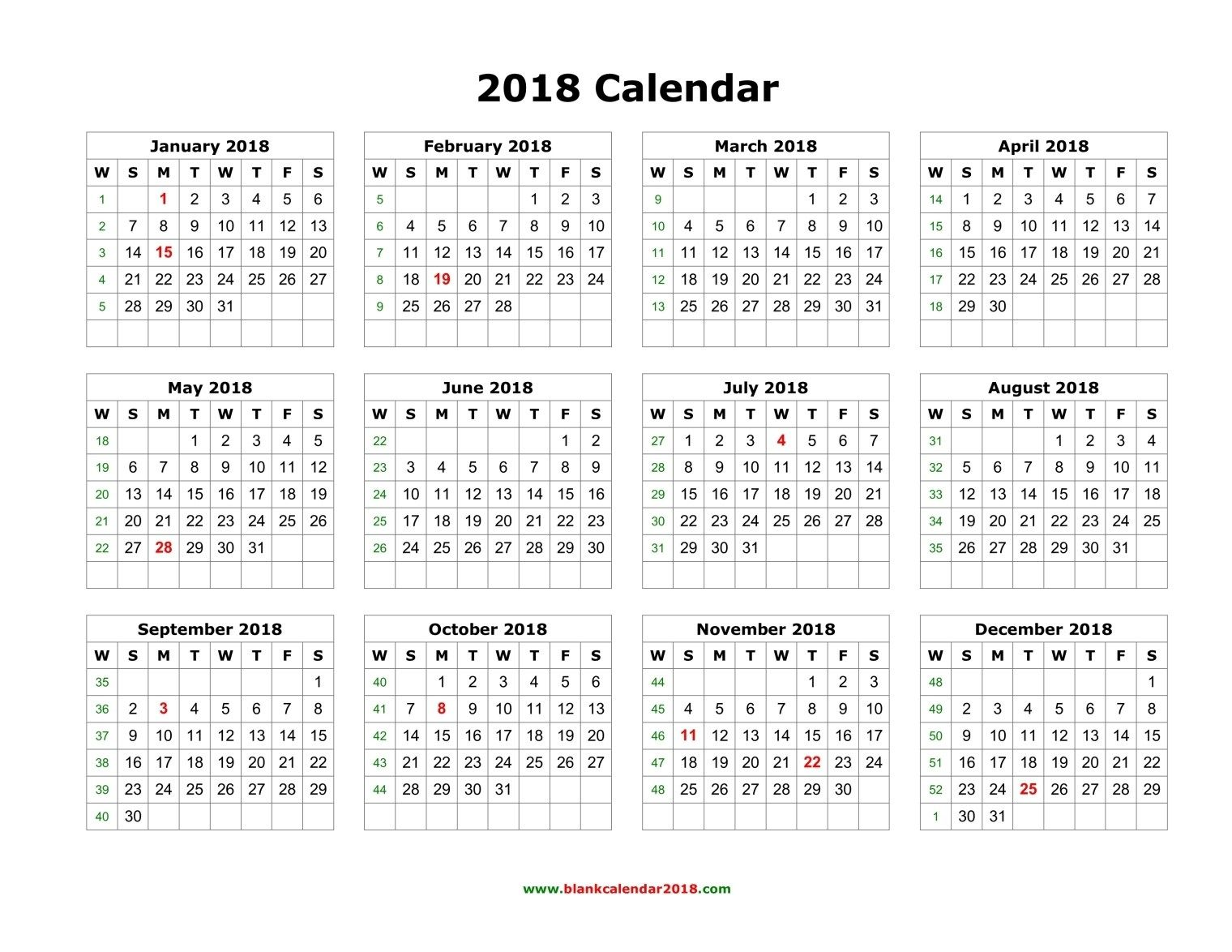 editable 2018 calendar with holidays