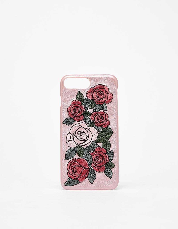 da37ac9506e Carcasa Iphone 7, Fundas Para Iphone, Rosas Bordadas, Accesorios Bershka,  Mujeres,