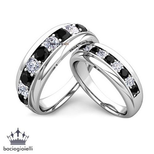 His Her Band Engagement Ring Set Round Cut Black White Cz 14k Gp Pinterest Engagements And Wedding Stuff