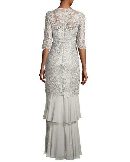 67932134f09 3 4-Sleeve Lace Tiered Column Gown