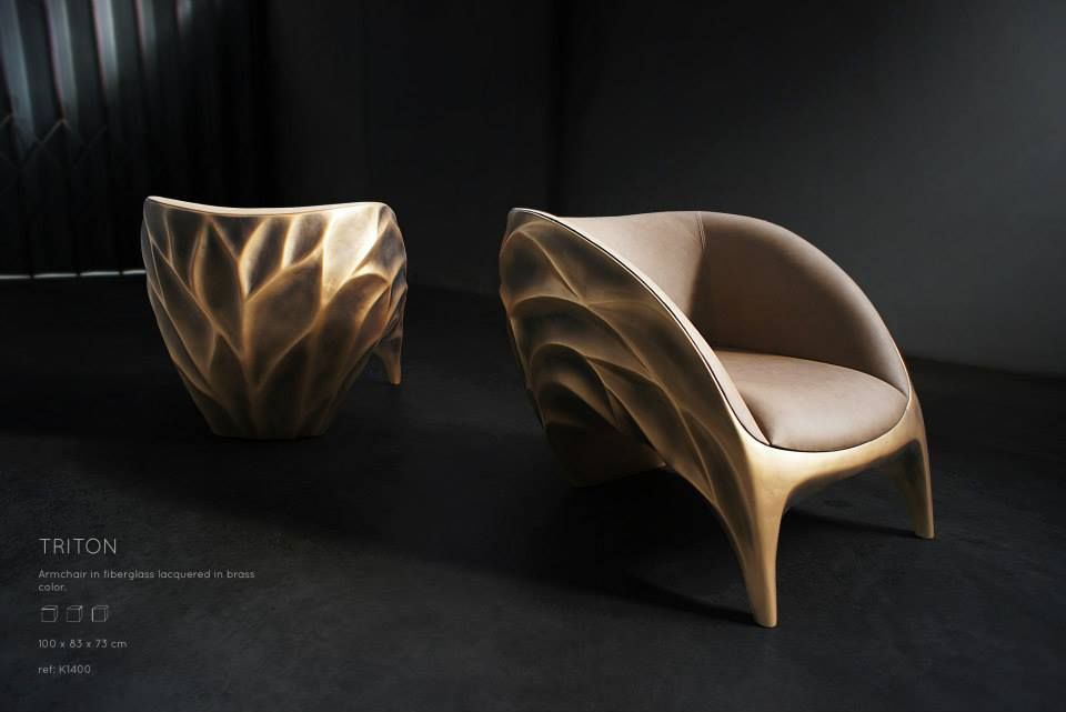 TRITON | Armchair Armchair in fiberglass lacquered in brass color. www.karpa.pt