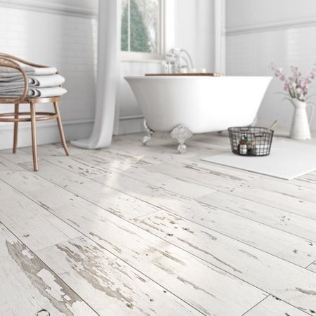 From White Wood Flooring Through To White Tile Flooring We Show You Your White Flooring Options The Pros And Cons Of L With Images Shabby Chic Bathroom Shabby Chic Kitchen