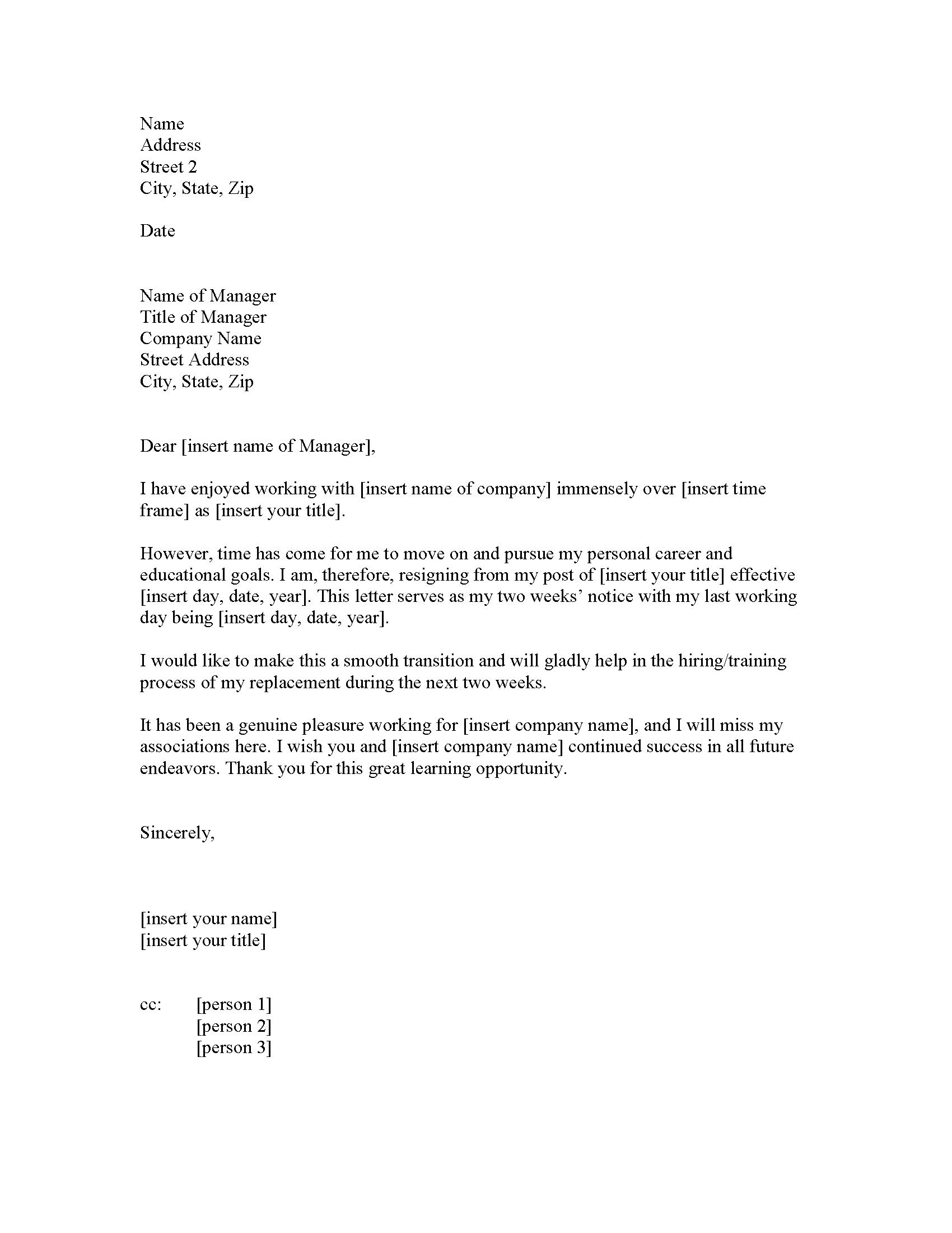 TwoWeek Resignation Letter Samples – Professional Resignation Letter Template