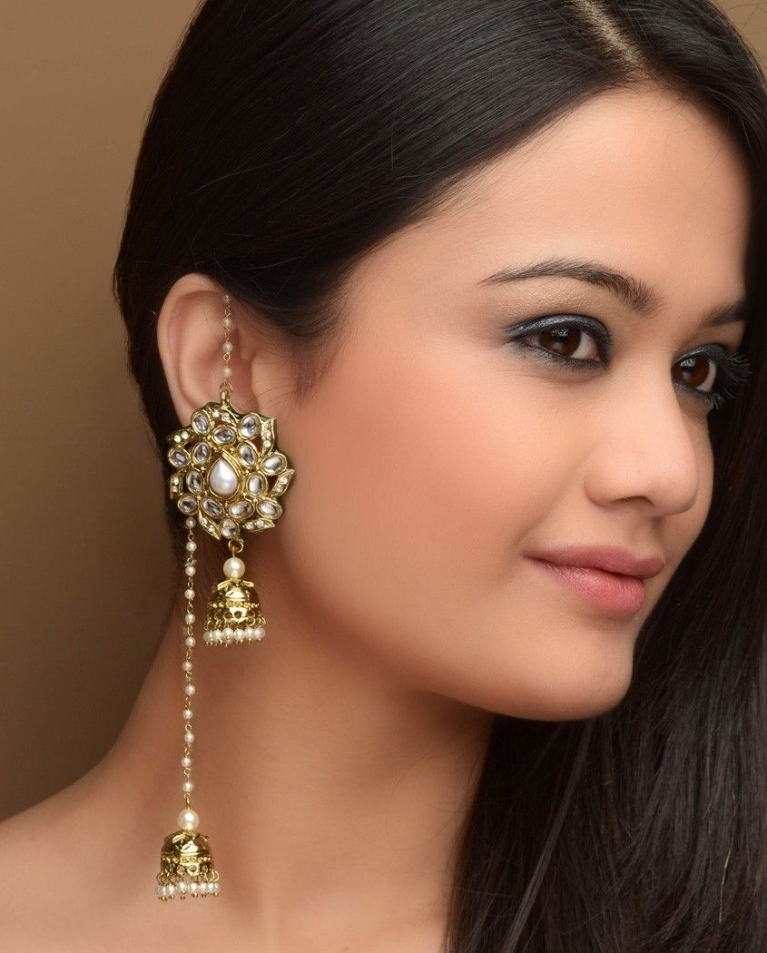 Floral Designed Kundan Earrings - Exclusively In $35