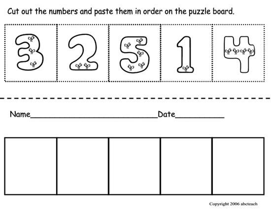 Cut paste number ordering preschool math pinterest math worksheet where students order numbers one through five ibookread ePUb